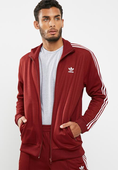a5a31a10356c Mens Beckenbauer track top - rust red white adidas Originals Hoodies ...