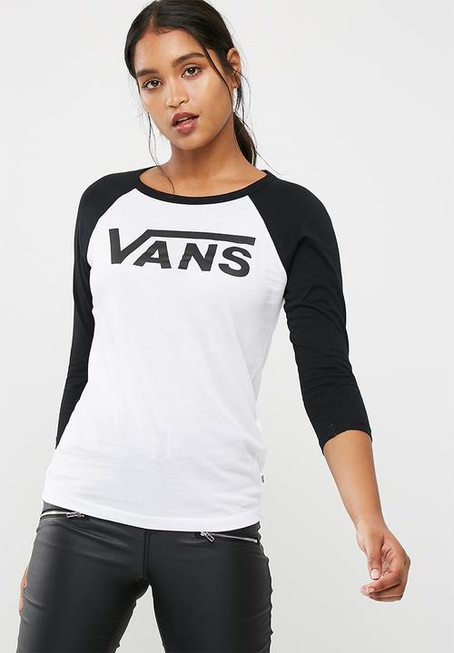 b61093767be2da Flying V raglan tee - White and black Vans T-Shirts