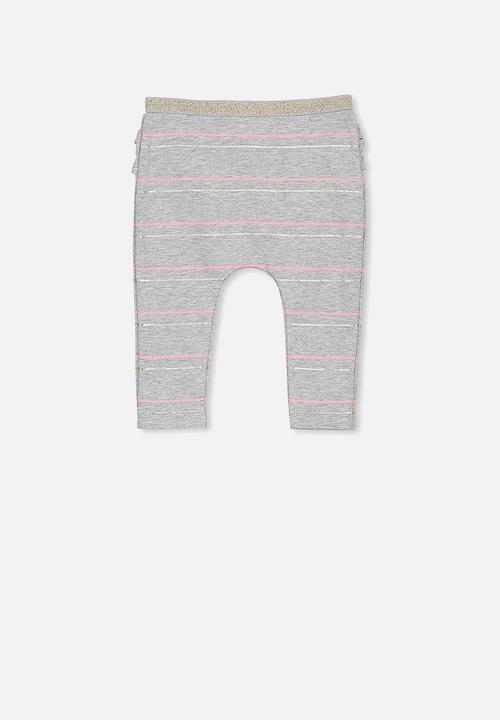 2acea0cd136f9 Baby Ria ruffle legging - light grey marle/tahitian pink foil stripe ...