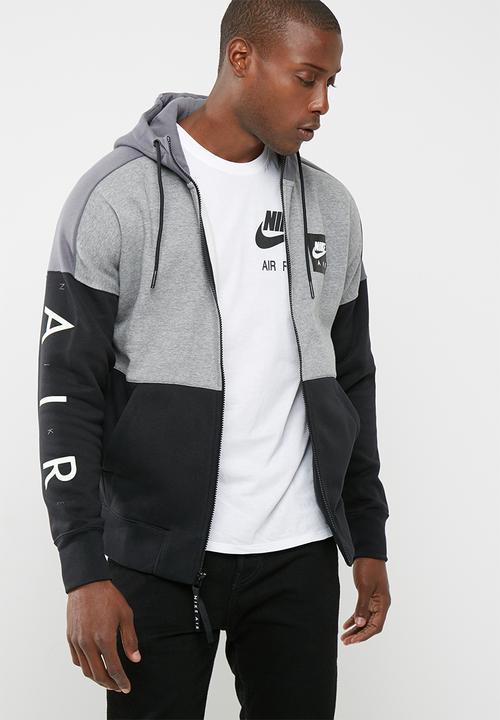 39b04080653d NSW air FZ fleece hoodie- Grey Black Nike Hoodies