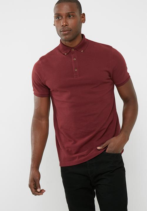 7494c2cb Pique S/S Slim Fit Polo- Burgundy basicthread T-Shirts & Vests ...