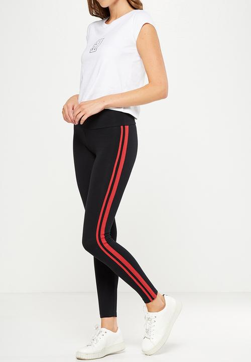 Dakota Detail Legging Black Dusk Red Double Stripe Cotton On Trousers Superbalist Com