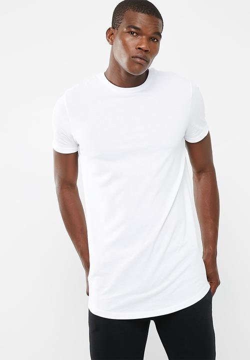 ef912482cbdc Plain longline curved hem tee - white basicthread T-Shirts   Vests ...