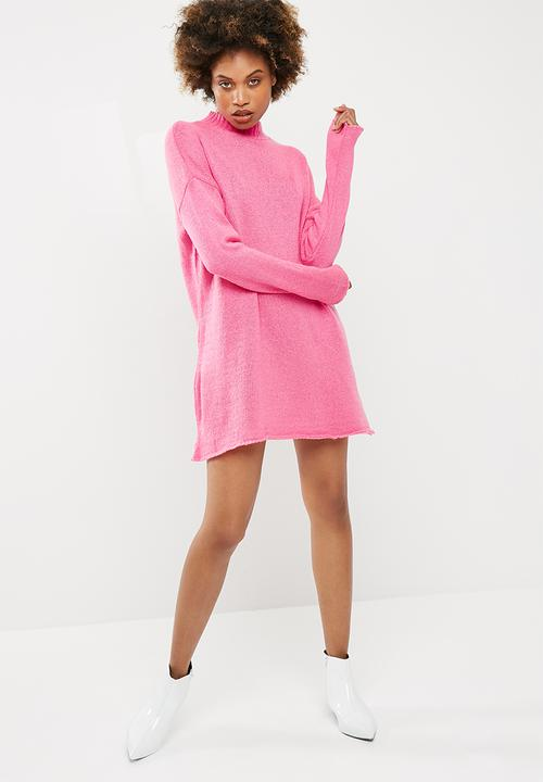 ce827b705e0 High neck slouchy jumper dress - Hot pink Missguided Casual ...