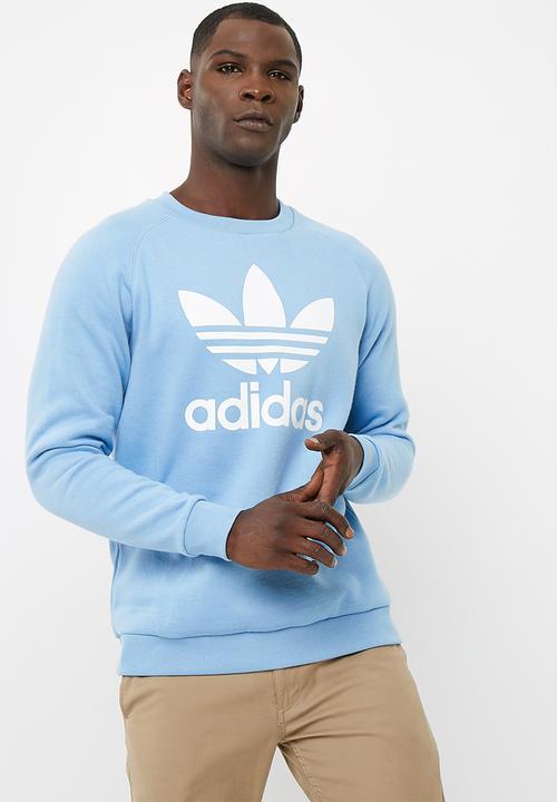 MENS ORIGINALS CREW trefoil - ash blue s18 white adidas Originals ... 2595ab28287