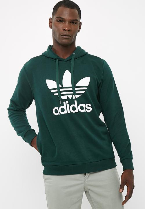 Mens Over The Head Hood Green Night F17 White Adidas Originals