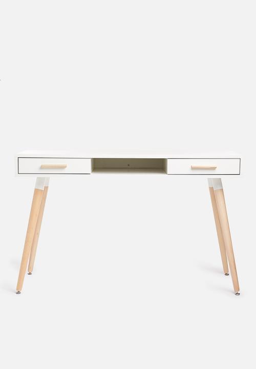 Alva Desk   White & Natural by Sixth Floor