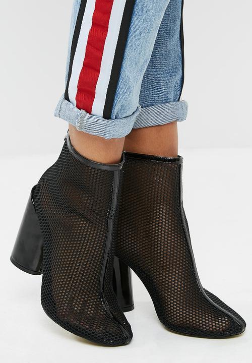 b48913c43a3 Under patent heel mesh ankle boot - Black Public Desire Boots ...