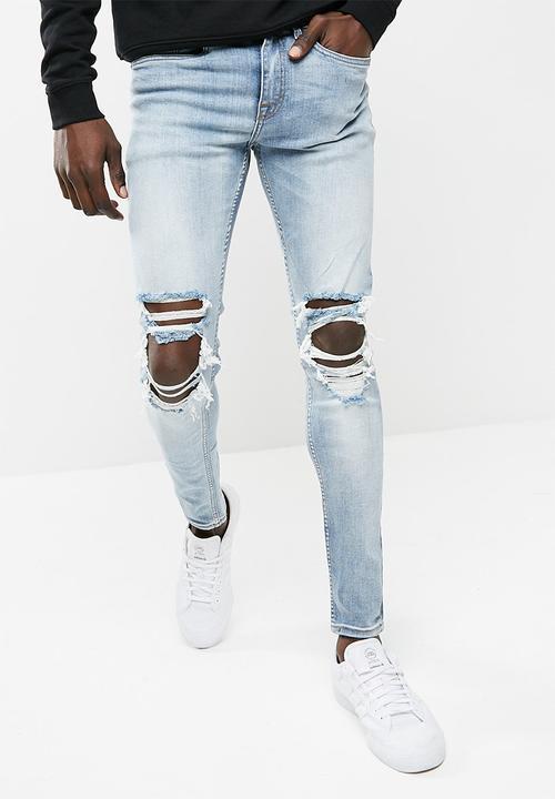 Mens Tom Légère Déchirure Superskinny Jeans Skinny Nouveau Look tSxCrKE