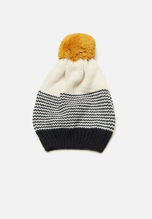 38000498add basicthread - Striped pom-pom beanie. ON SALE. Sold Out!
