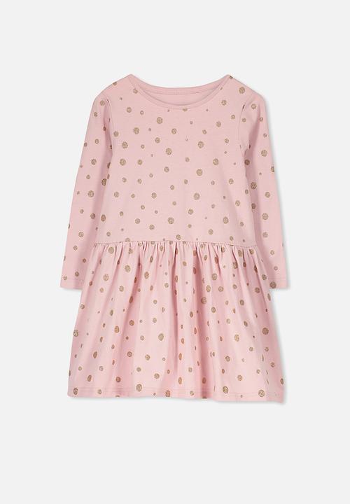 931f7d6d Kids lani long sleeve dress - Silver Pink/Glitter Spot Cotton On ...