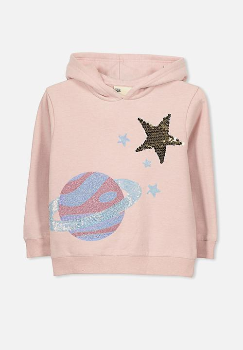 58ad68196600 Kids scarlett set in sleeve hoodie - silver pink planet and star ...