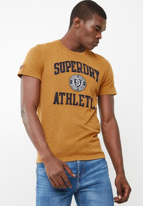 New Mens Superdry Applique T-Shirt Jim Mustard Marl
