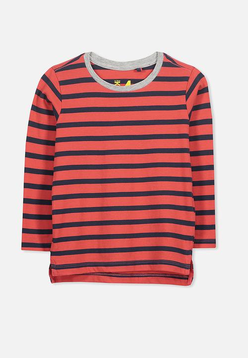 774d94c240a Kids tom is tee - red navy stripe sis Cotton On Tops