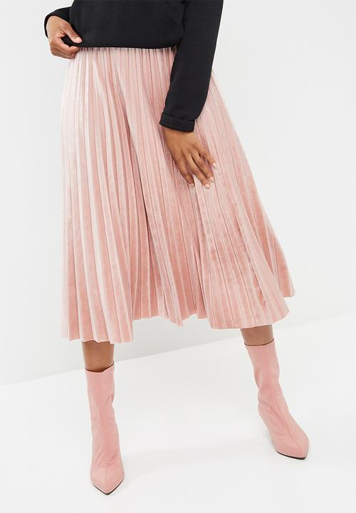 07a3d4cdc Velvet pleated midi skirt - baked pink dailyfriday Skirts ...