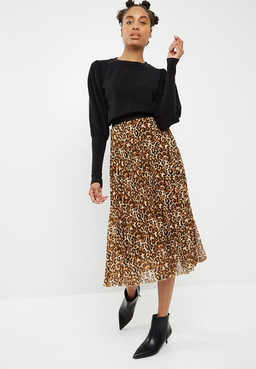 fb498be56 Sunray pleated midi skirt - animal print dailyfriday Skirts ...