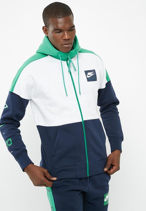 3bc7accbb602 M Nsw Hoodie Air Fz- Grey White Green Nike Hoodies