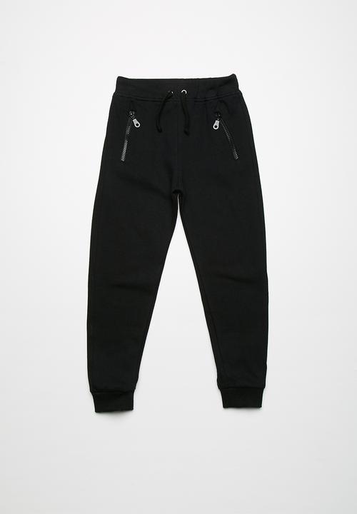 Kids Boys Zip Detail Biker Joggers Black Basicthread Pants Jeans