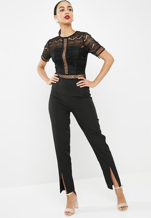 ab7fa5f5971d Lace top cigarette jumpsuit - black Missguided Jumpsuits   Playsuits ...