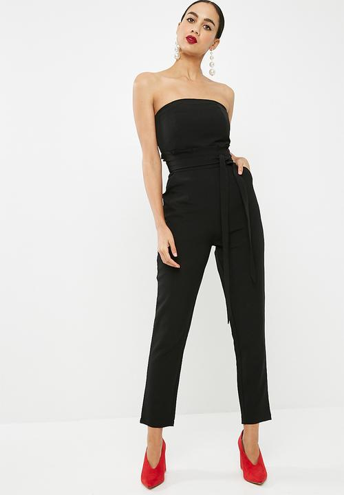 b260b8af68b Paperbag waist bandeau jumpsuit - Black Missguided Jumpsuits ...