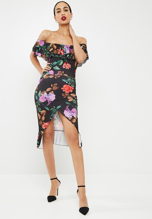 f1a07ace3270 Floral print frill detail bardot midi dress - black Missguided ...