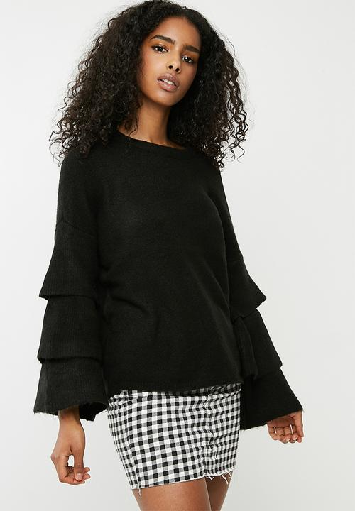 6825b8735214d2 ONLY - Flower ruffle pullover knit - black