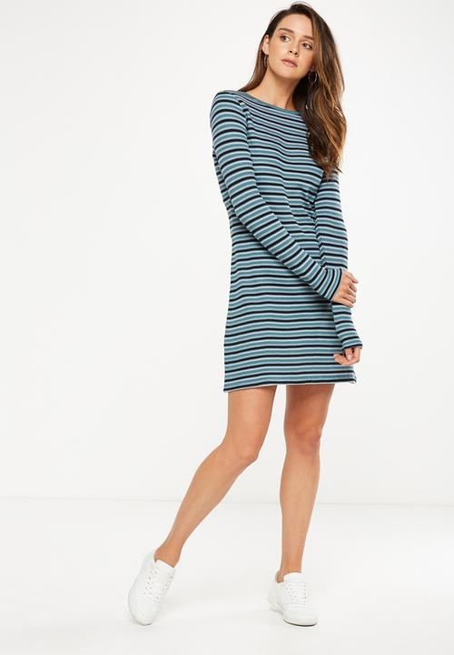 1e1676a2aa37 Tina long sleeve shirt dress - Pine green black horizontal stripe ...
