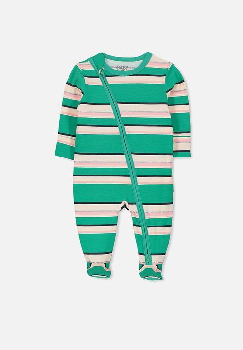 eaee77015ac59 Baby mini zip through romper - amore peacock stripe Cotton On ...