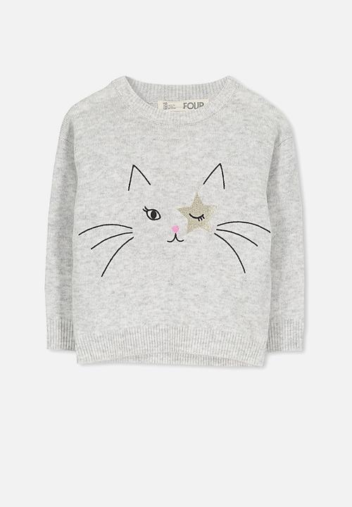 2b445ee704f6 Kids Nancy knit jumper - silver marle star cat Cotton On Jackets ...