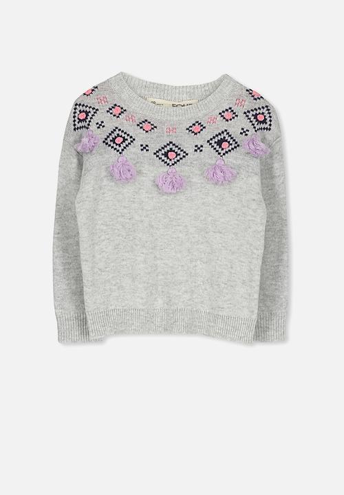 6410484794ce Kids Nancy knit jumper - silver marle tassles Cotton On Jackets ...