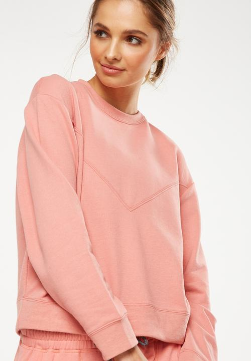 6c005a2f Crew neck long sleeve top - Dusty clay Cotton On Hoodies & Sweats ...
