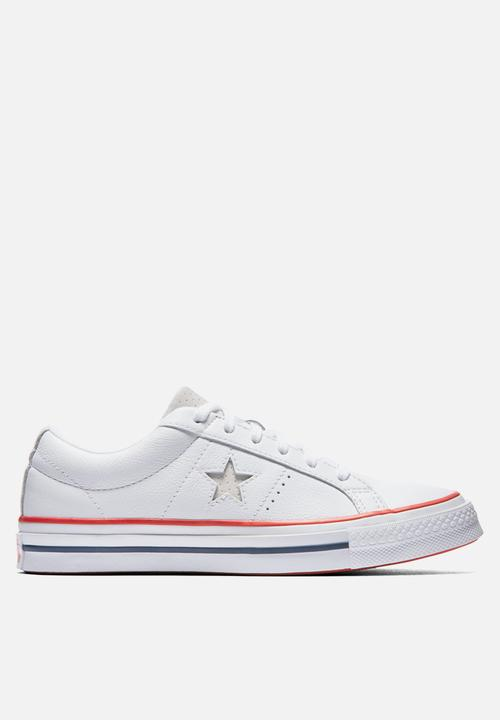 05150e87d0e076 Converse One Star OX -160624C - White   Gym Red Converse Sneakers ...