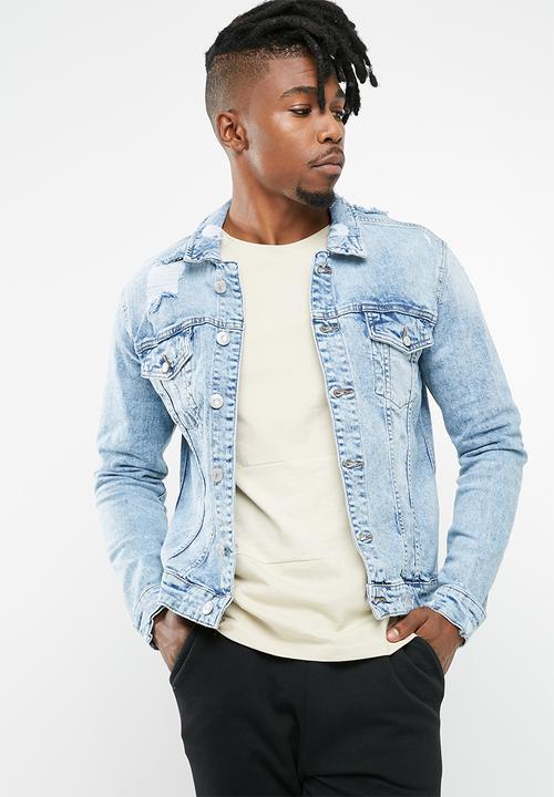 25acbaa2e3565 Rocker denim jacket - light blue denim Only   Sons Jackets ...