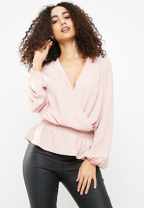 f2c0b1caa23beb Shirred waist wrap blouse - pink dailyfriday Blouses | Superbalist.com
