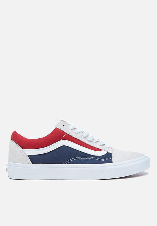1df654b7dbcdd2 Vans Old Skool - (Retro Block) - VA38G1QKN - white red dress blue ...