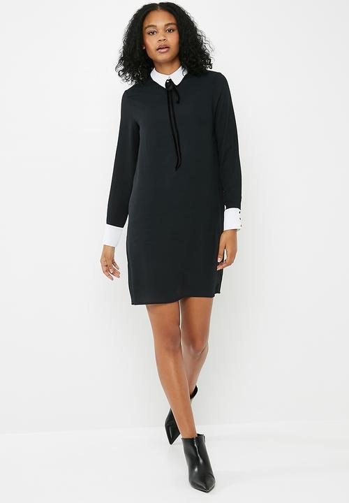 e51936a40d7 Longsleeve tunic dress - black with contrast white dailyfriday ...