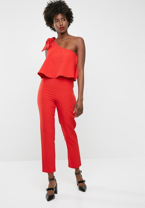 56bfa41ba06 One shoulder bow jumpsuit - Scarlet red Missguided Jumpsuits ...