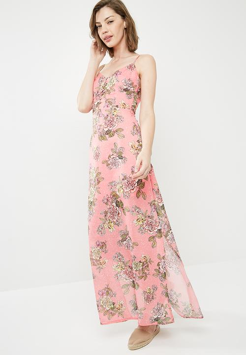 9467d17654f Chiffon floral print button down maxi dress - pink Missguided Casual ...