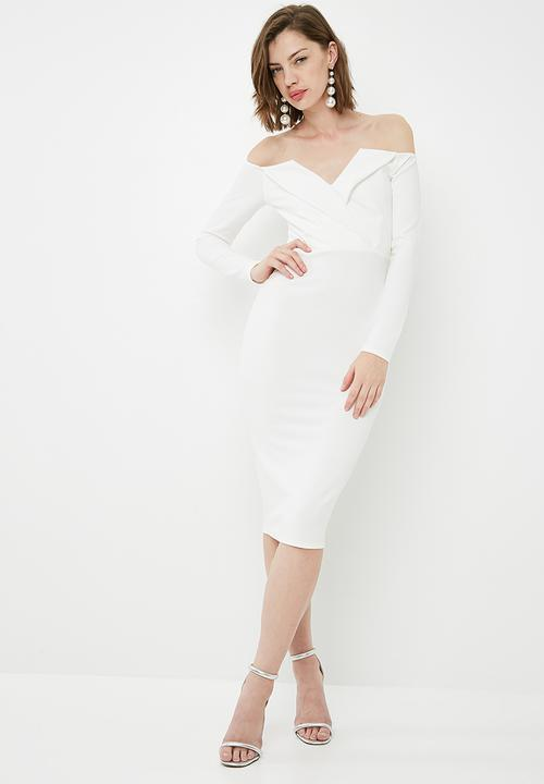 380e089ac6a5 Fold over bardot midi dress - white Missguided Occasion ...