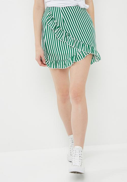30aab610b0 Striped frill detail mini skirt - green & white Missguided Skirts ...