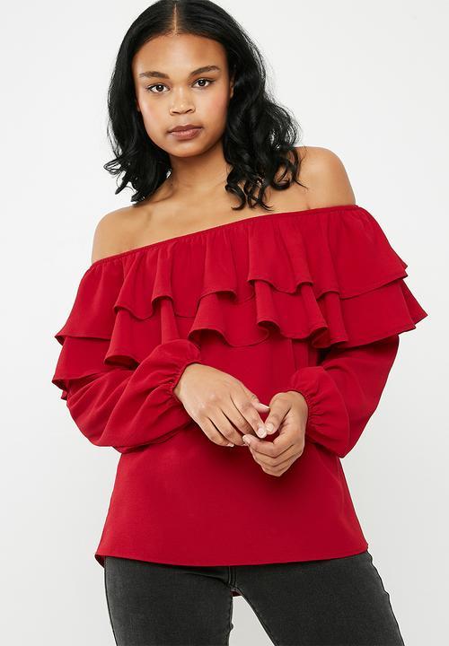 d5921c90783 Frilled off the shoulder blouse - red