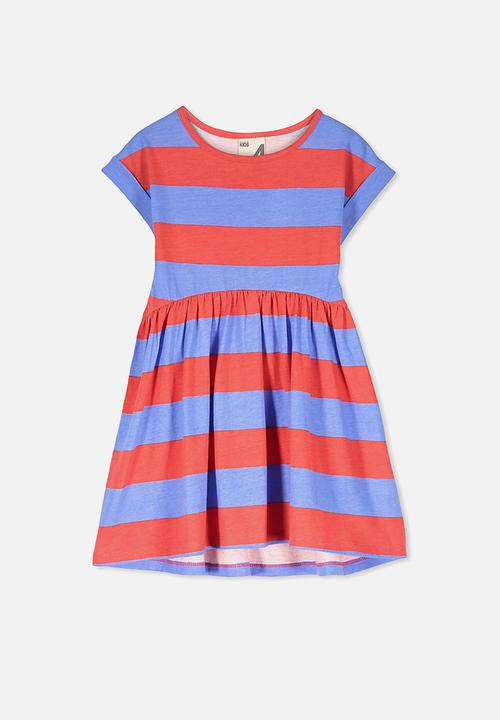 9d829f59c Nicola shorts sleeve dress - marina/tomato stripe Cotton On Dresses ...