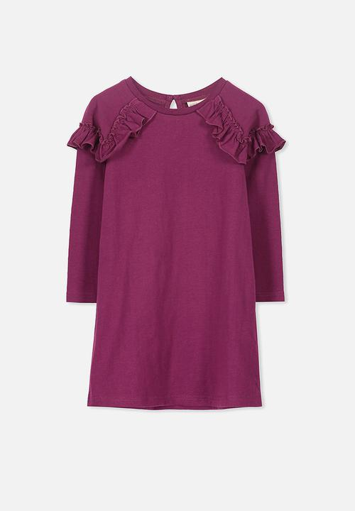 de6eeec8c448 Kids Saturday long sleeve dress - magenta purple slub Cotton On ...