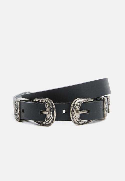 fa3272de5242f Western leather double buckle belt - black Superbalist Belts ...