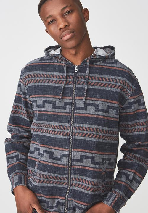 5375e92f6f44 Zip long sleeve hood shirt - navy nomad stripe Cotton On Shirts ...