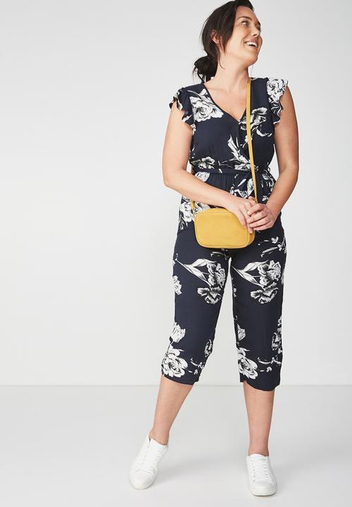 5c73d5f0b99 V Neck Culotte Jumpsuit -Ash Floral Moolight With Black Cotton On ...