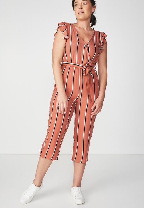 6eaea36c437 V Neck Culotte Jumpsuit -Gema Stripe Copper Brown Black White ...