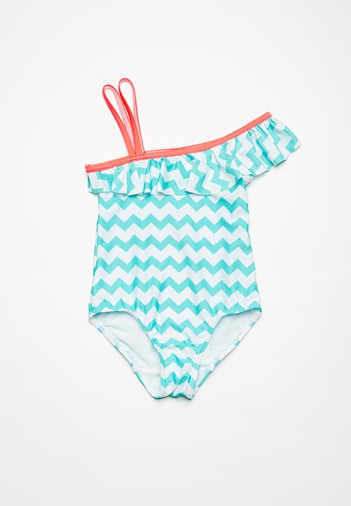 Kids Girls One Shoulder Swimming Costume Aqua And White Chevron