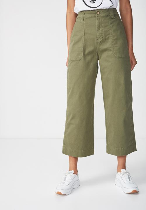 really comfortable online store cute Wide leg pants - green