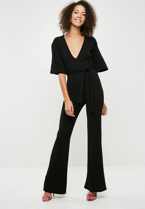 3ac00702fc4 Plunge kimono sleeve jumpsuit - black Missguided Jumpsuits ...